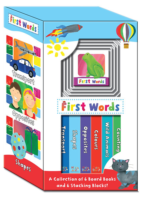 First Words Board Books & Stacking Blocks