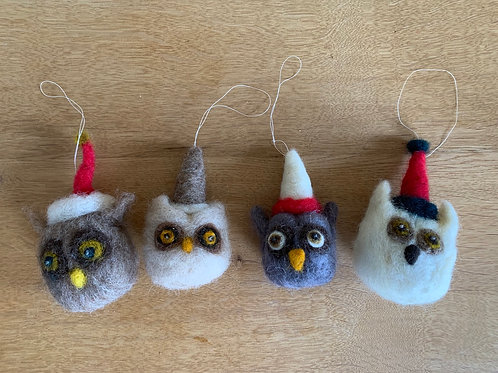 Hand felted owl ornaments