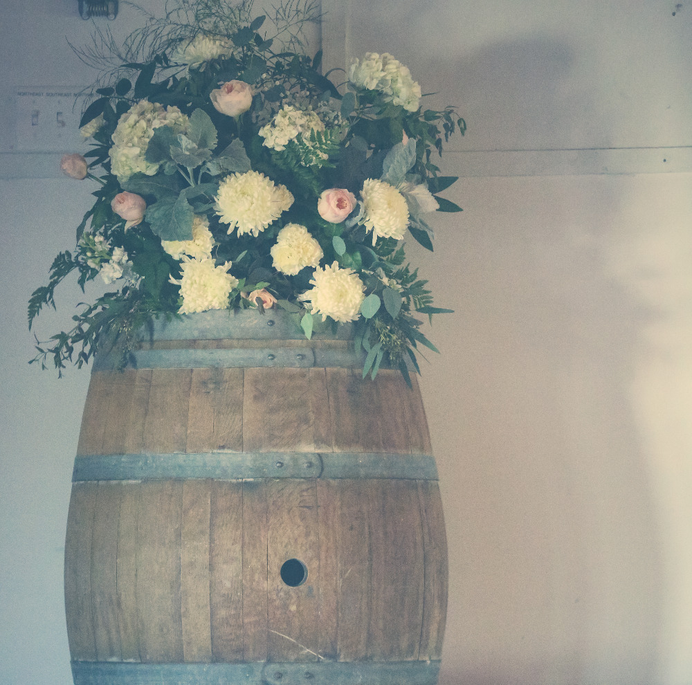 Wine Barrel with Floral Decor