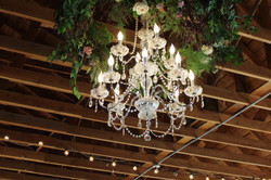 Chandelier with Floral Wreath