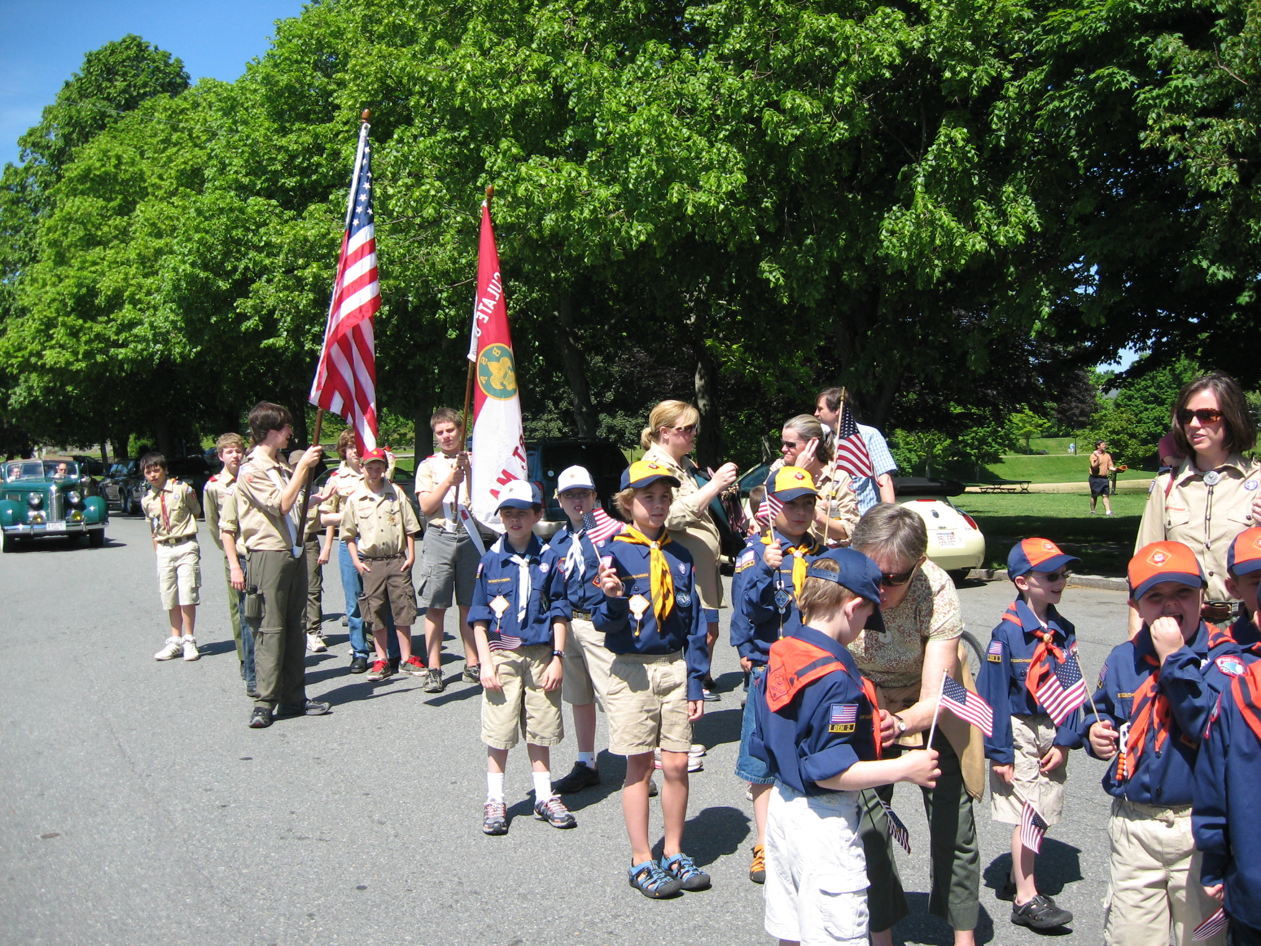 Gathering for Memorial Day Parade