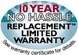 10 year no hassl replacement limited warranty