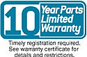 10 year air conditioning and heat pump parts limited warranty