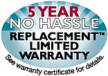 five year no hassle replacement limited warranty on ac and heat pump equipment.
