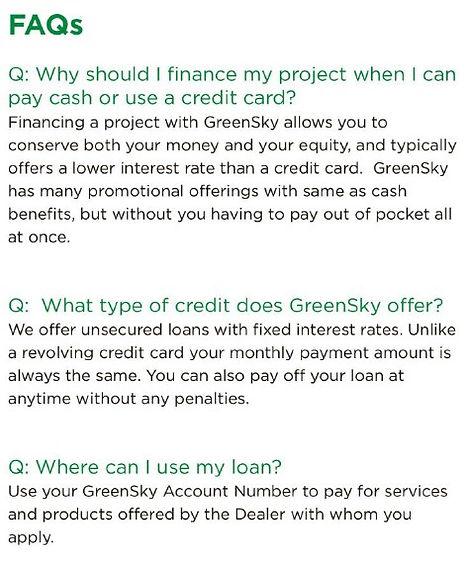 Greensky Financing FAQs