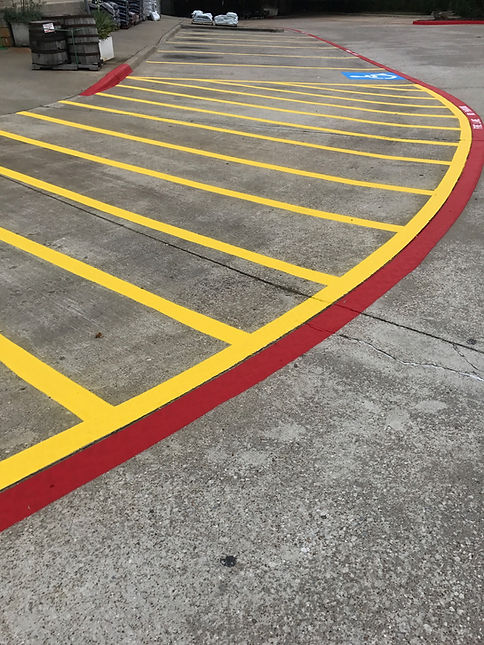 freshly painted lines in a parking lot