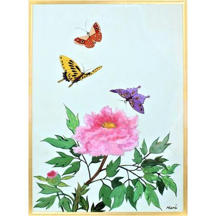 「ガラス絵牡丹と蝶」