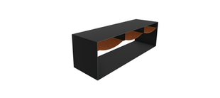 Hughes Bent Steel Coffee Table with Leather