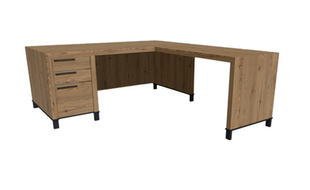 Clayborne Desk with Return, Modesty Panel, and BBF Pedestal