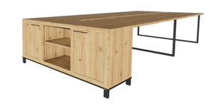 Clayborne 4 Pack Benching with Credenza