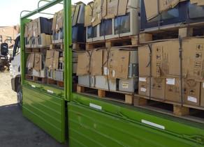Se trasladaron los pallets con residuos eléctricos y electrónicos