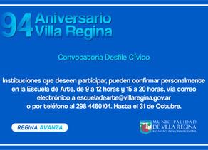 CONVOCATORIA DESFILE CÍVICO 94º ANIVERSARIO DE VILLA REGINA