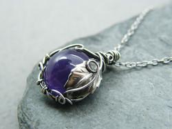 Amethyst necklace, Silver leaf necklace