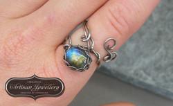 Adjustable sterling silver ring