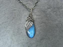 Labradorite necklace, Leaf necklace, Sterling silver leaf pendant