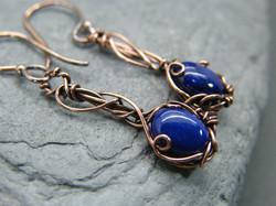 Lapis lazuli earrings, Copper gemstone earrings