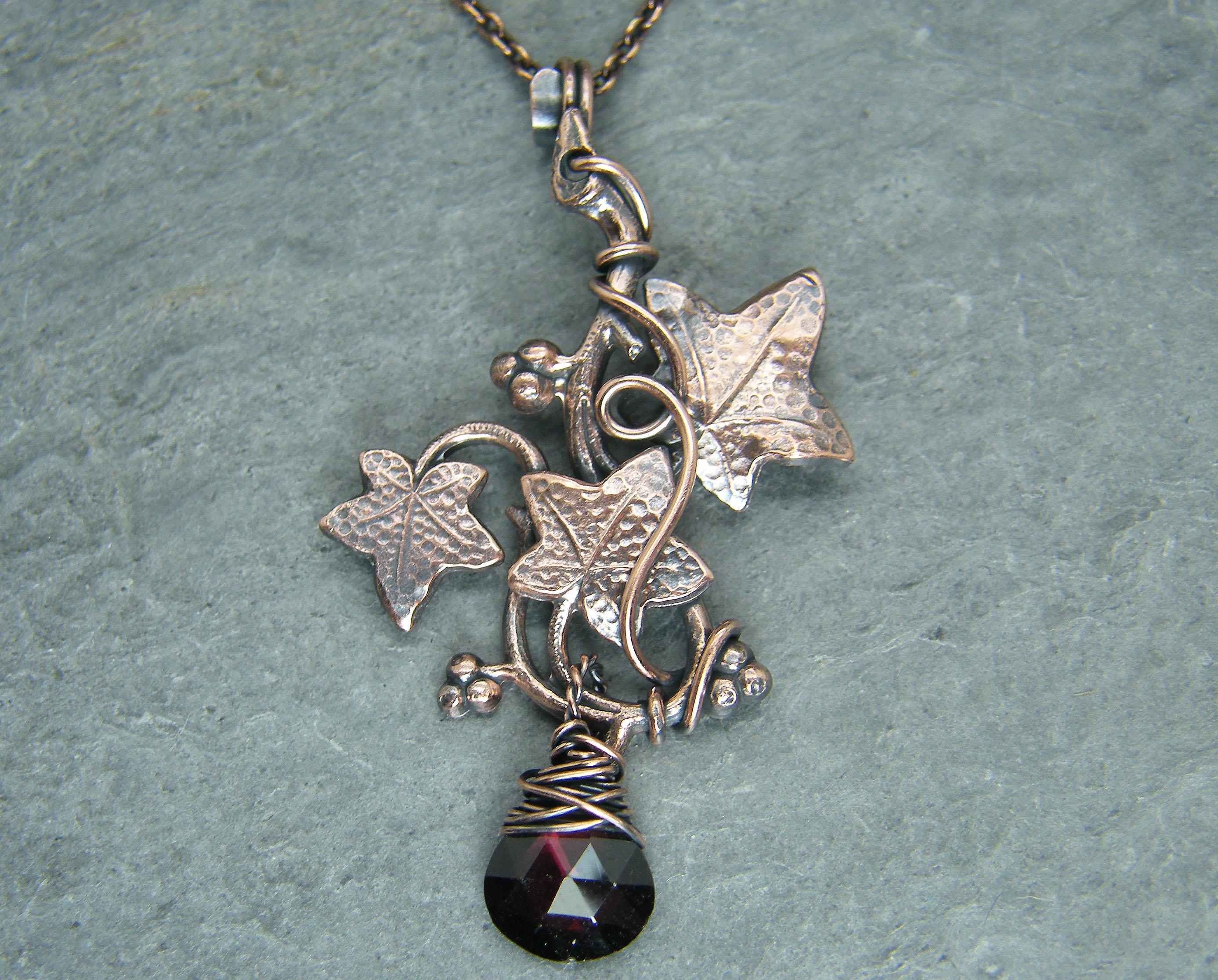 Leaf necklace, Garnet necklace, Birthstone necklace with garnet