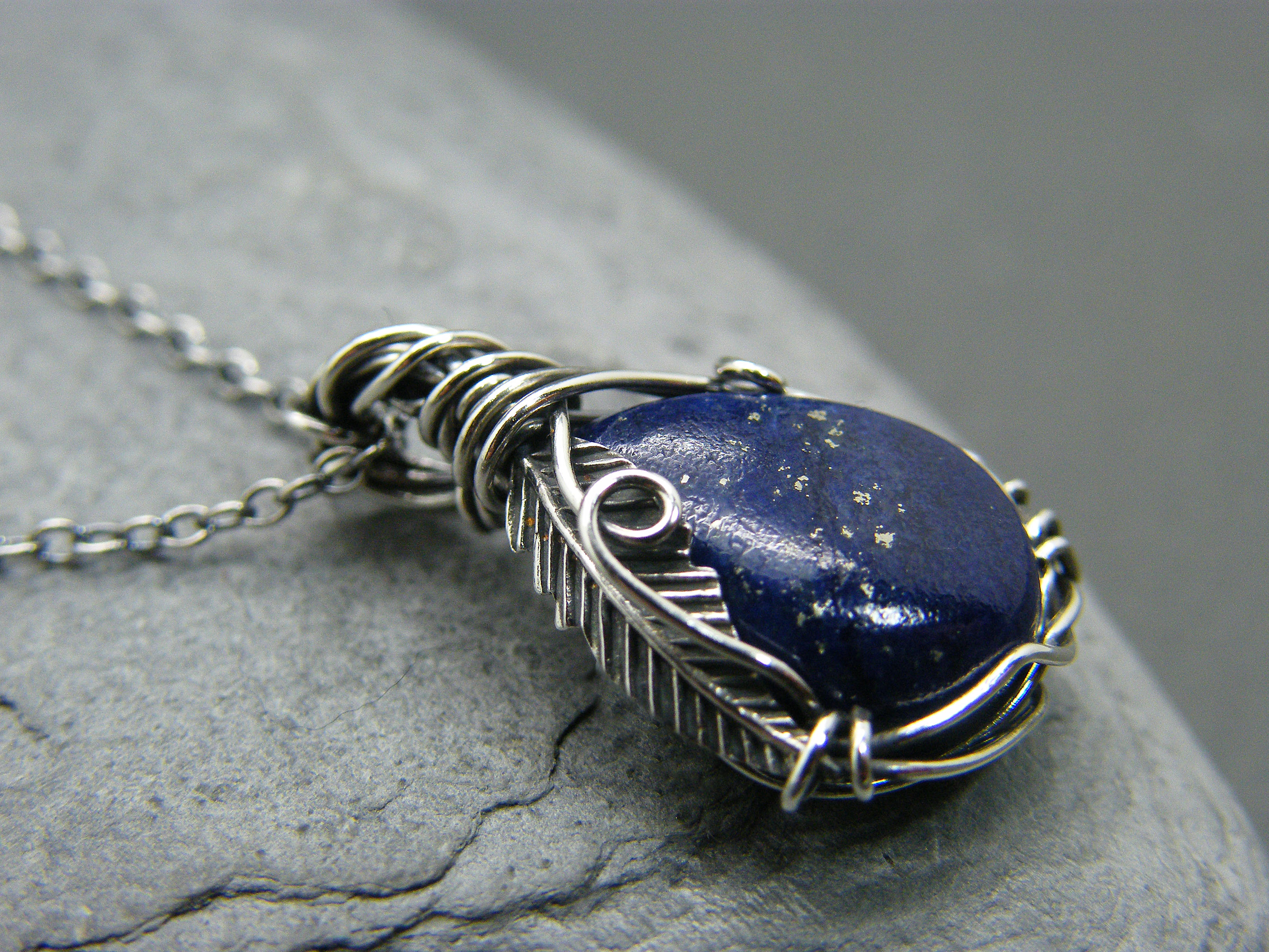 Lapis lazuli necklace, Feather necklace, Sterling silver feather pendant