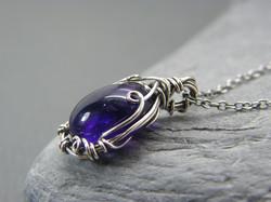 Amethyst necklace, Sterling silver amethyst pendant