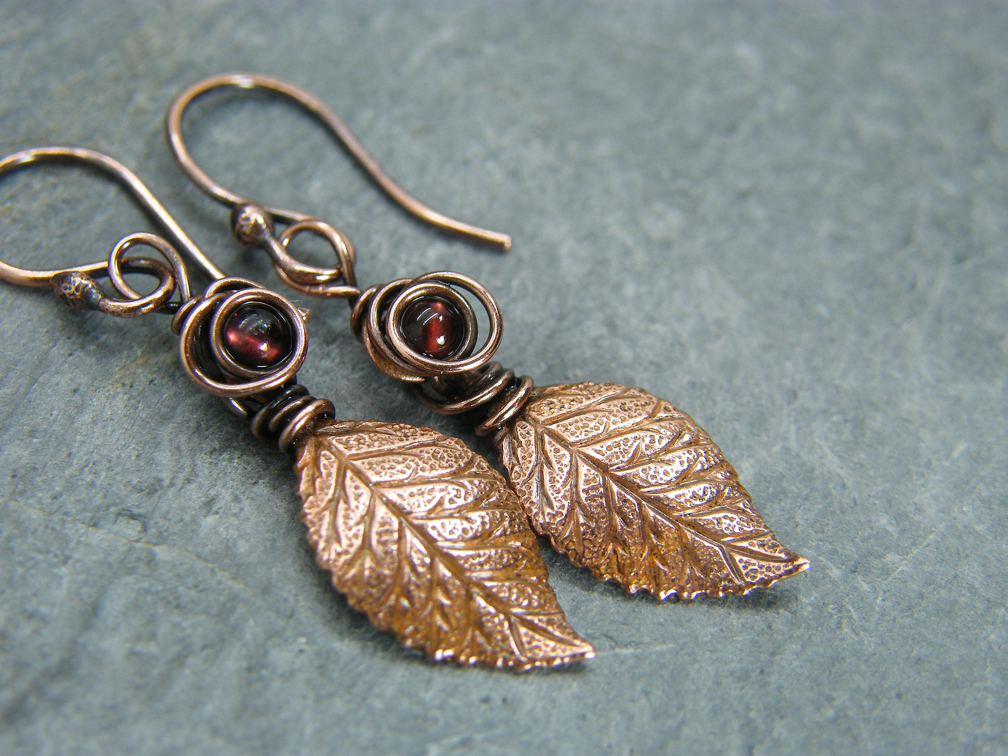 Leaf earrings, garnet earrings, Copper leaf earrings