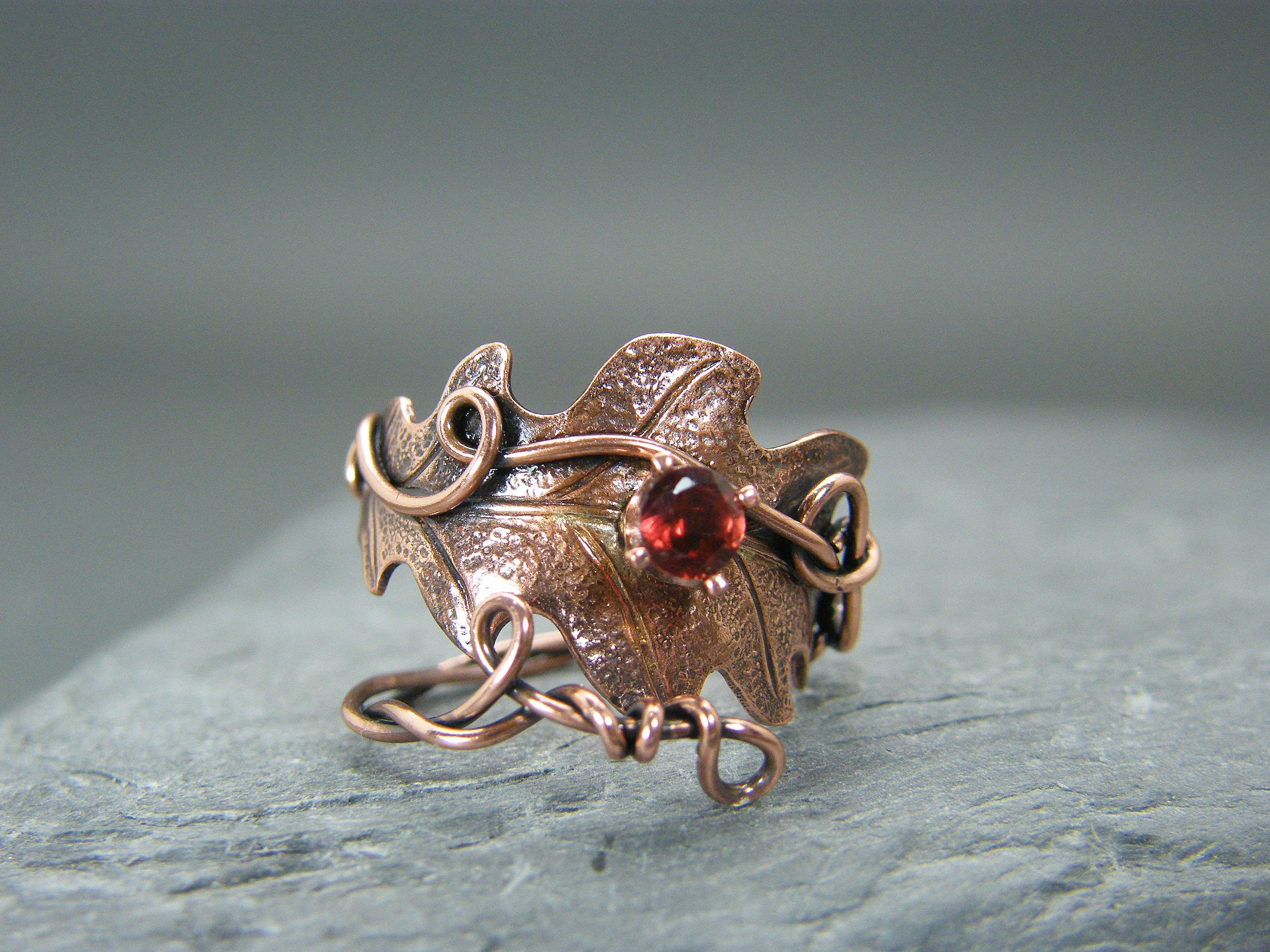 Garnet ring, Leaf ring, Copper ring,