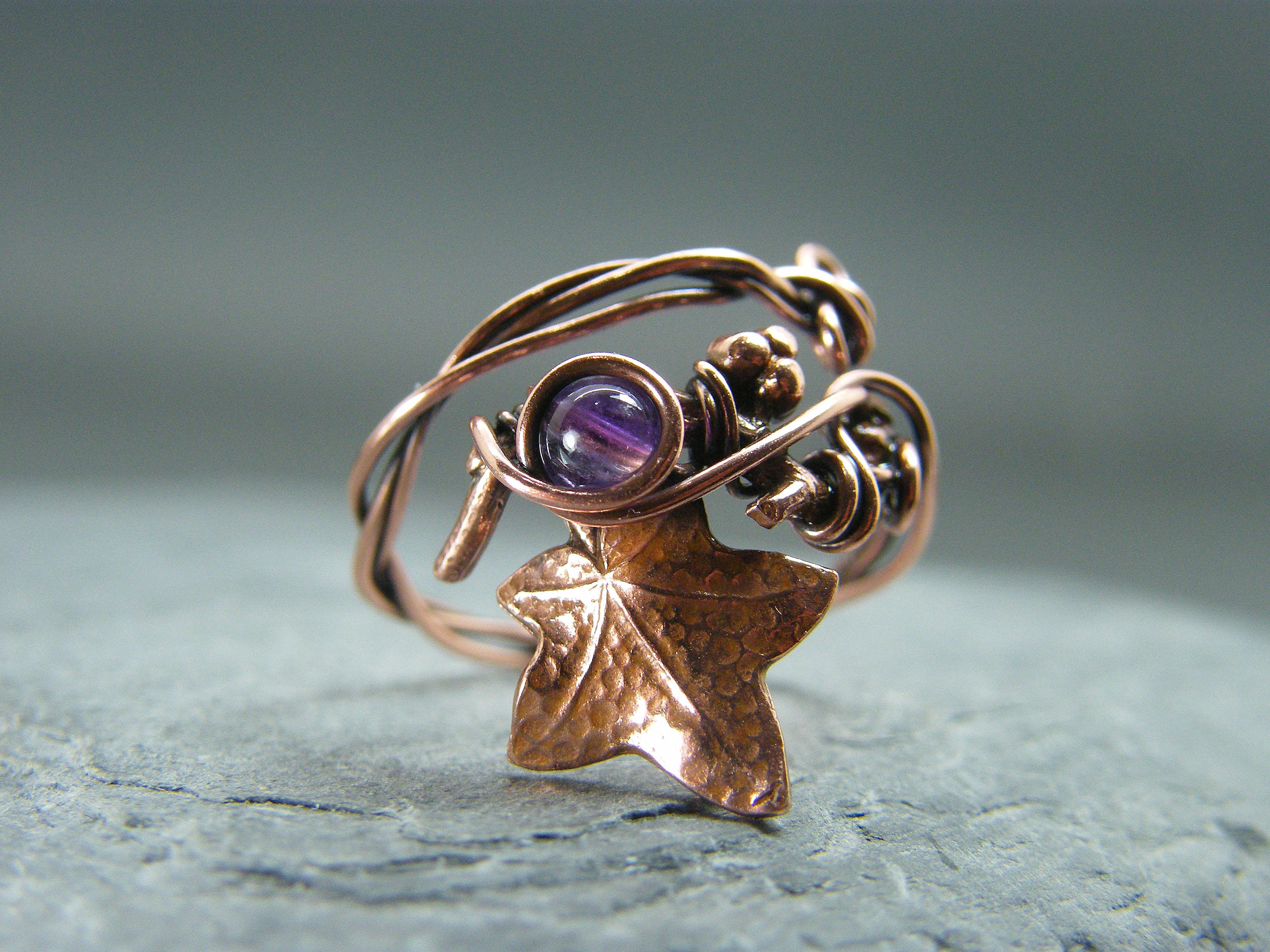 Leaf ring, Amethyst leaf ring, Birthstone ring