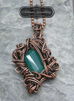 Green onyx wire wrapped copper penda