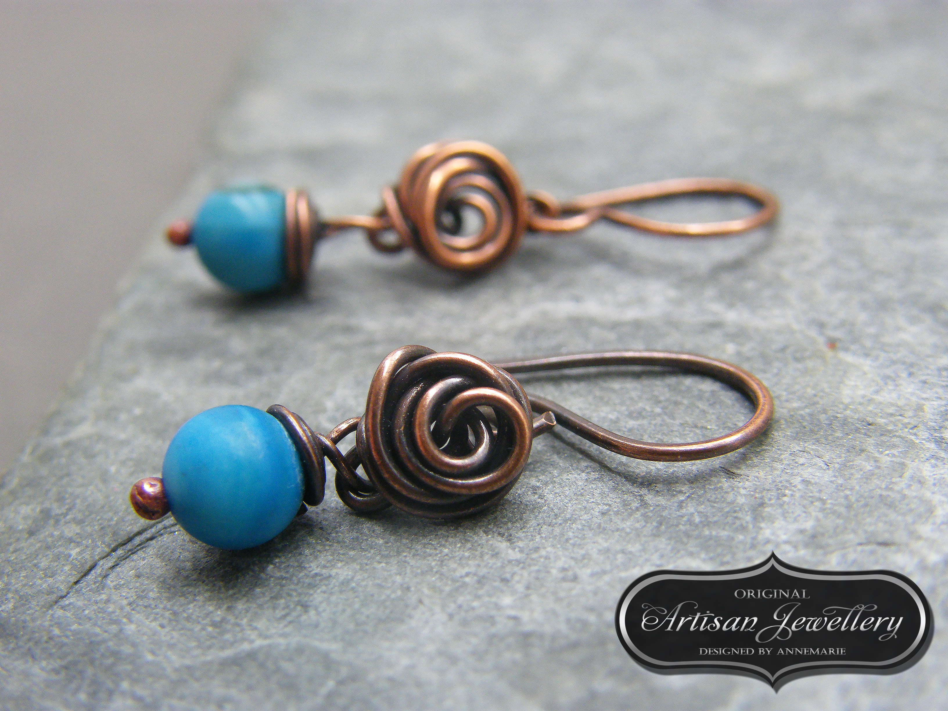 Copper roses, wire wrapped copper ea