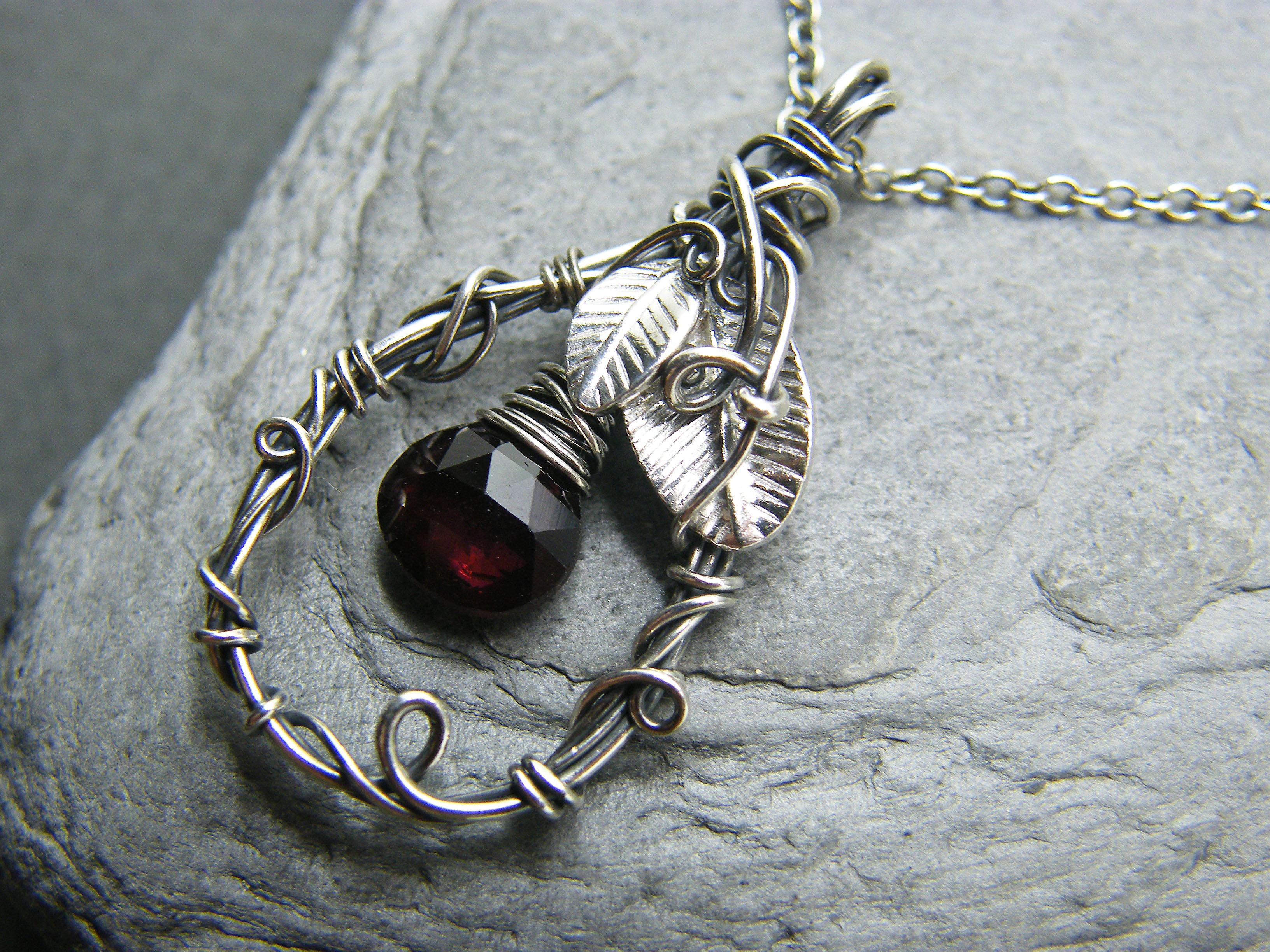 Silver necklace, Garnet necklace, Leaf pendant