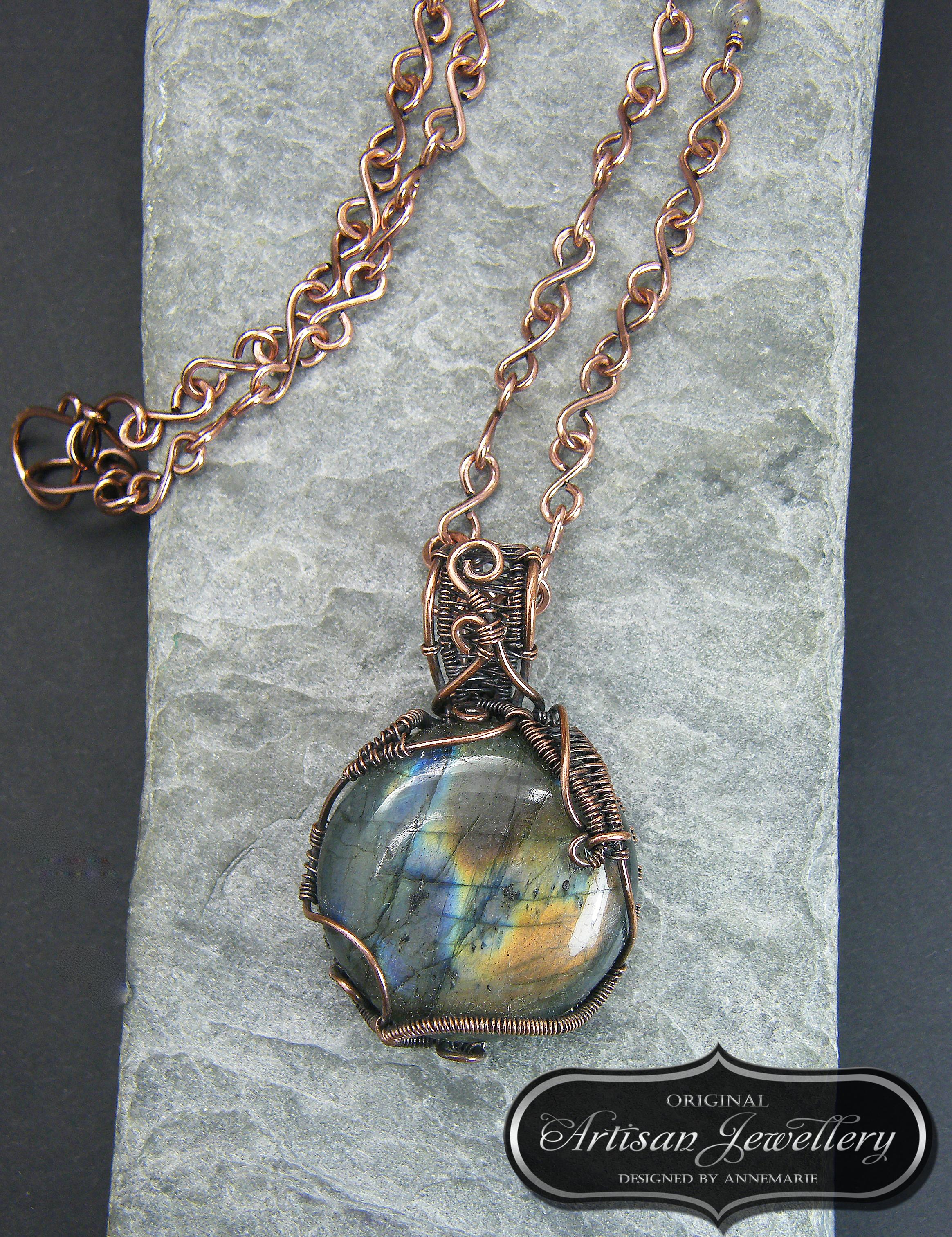 Wire wrapped copper pendant