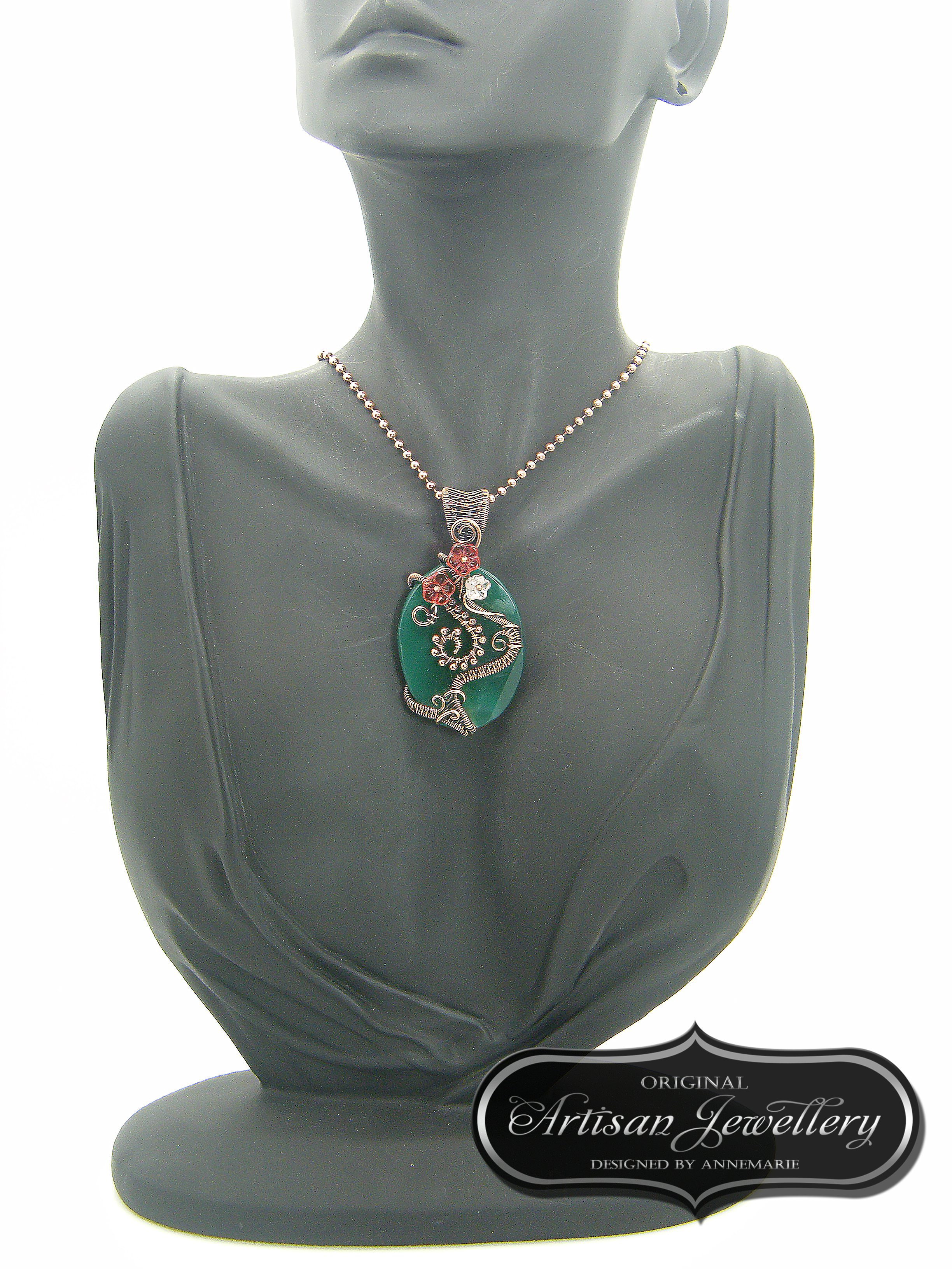Green agate ~ Wire wrapped pendant