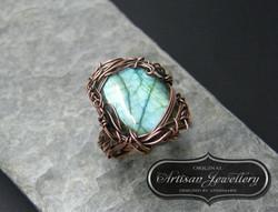 Labradorite copper wire wrapped ring