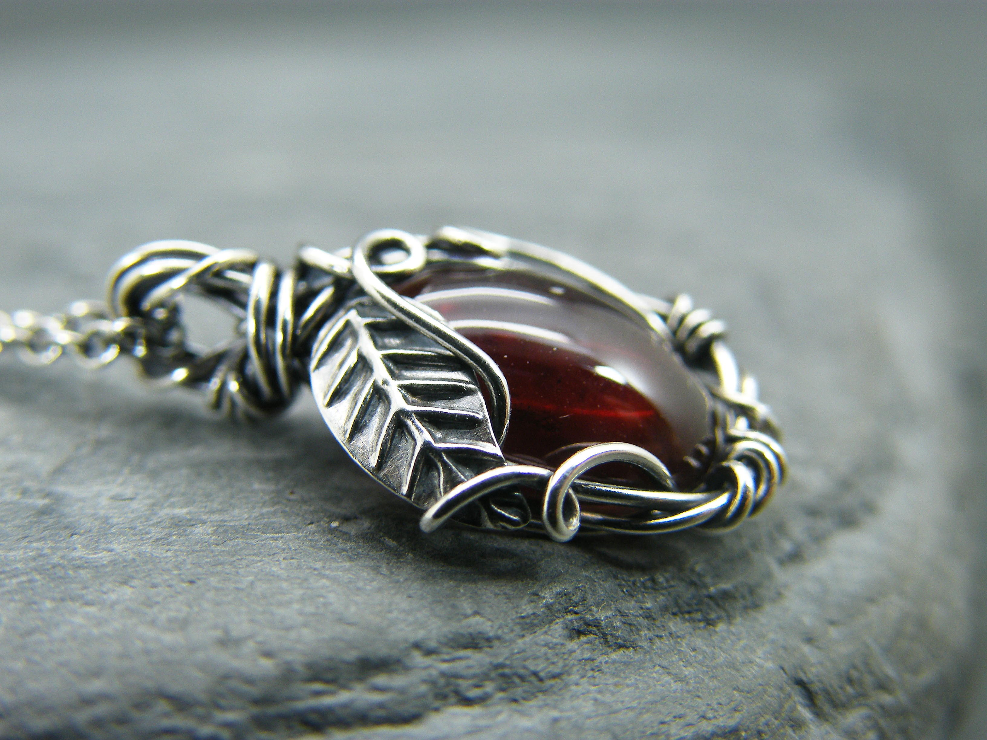 Garnet necklace, Sterling silver garnet necklace, Leaf pendant