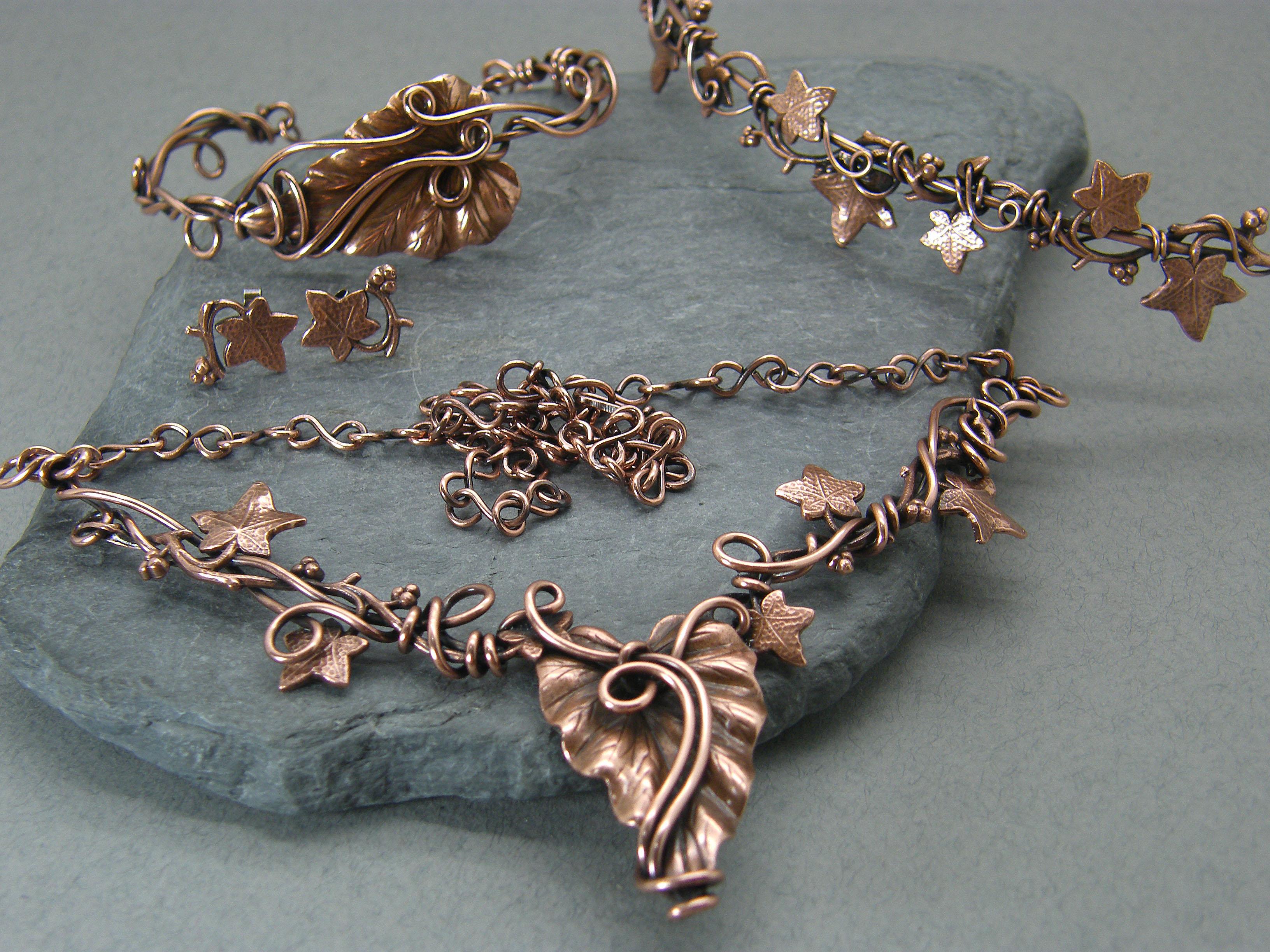 Bohemian bridal set, Copper necklace, Copper jewellery, Leaf jewellery