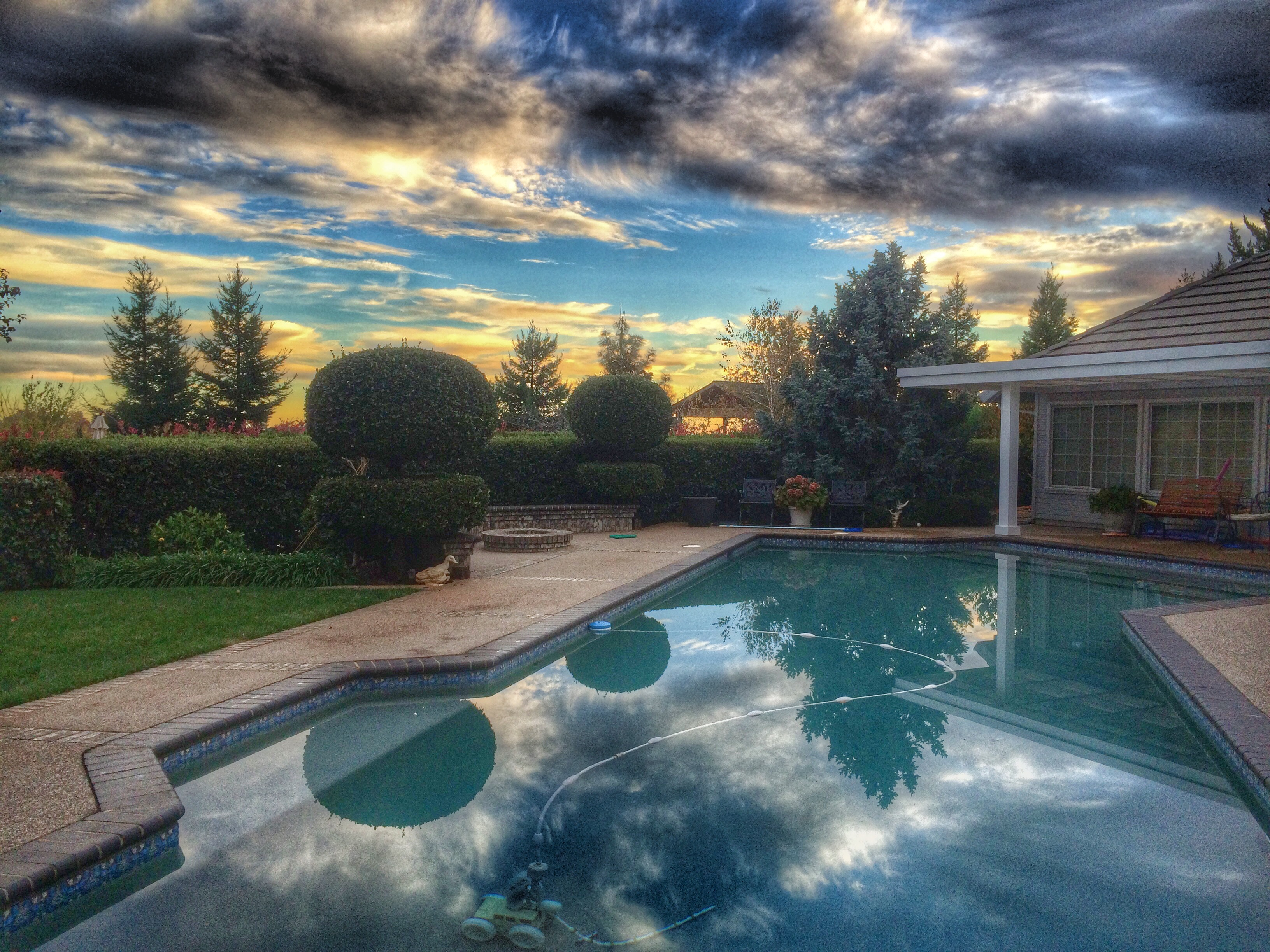 Backyard Pool Beautiful Sunset