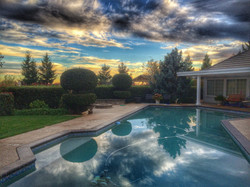 Backyard Pool Beautiful Sunset
