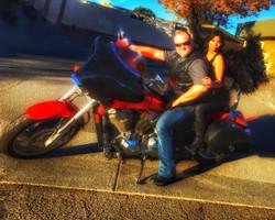 Ethan and Maya on a Honda VTX Custom