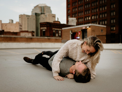 Liz & Christian | Downtown Pittsburgh  Rooftop Engagement Session