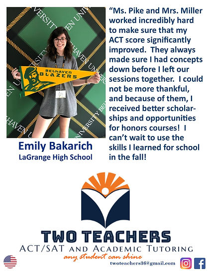 Two Teachers Testimonials Emily Bakarich