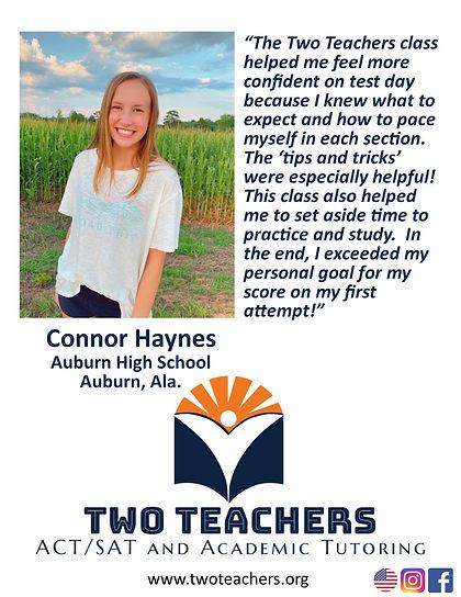 Two Teachers Testimonials Connor Haynes.