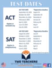 Two Teachers Testing Schedule 2019-2020.