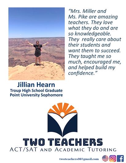 Two Teachers Testimonials Jillian Hearn.