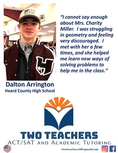 Two Teachers Testimonials Dalton Arringt