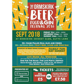 Ormskirk  Beer, Food  & Gin Festival        Friday 21st - Sunday 23rd Sept.