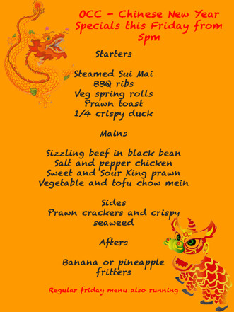 OCC Menu goes Chinese this Friday