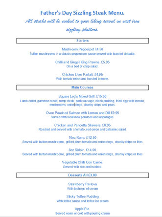 Father's Day Sizzling Menu