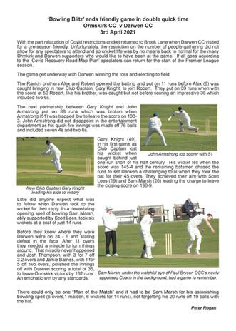 Darwen - Match report -3-4-21