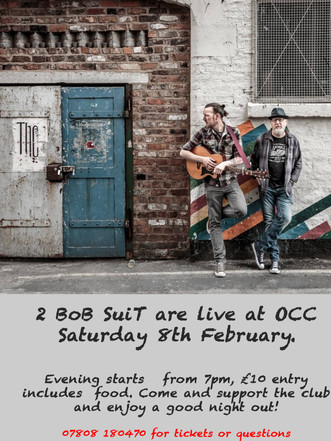 Saturday 8th Feb is Music Night at OCC