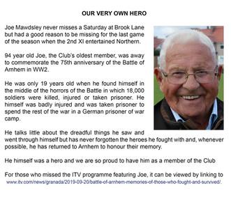 Joe Mawdsley - O.C.C.'s real hero!