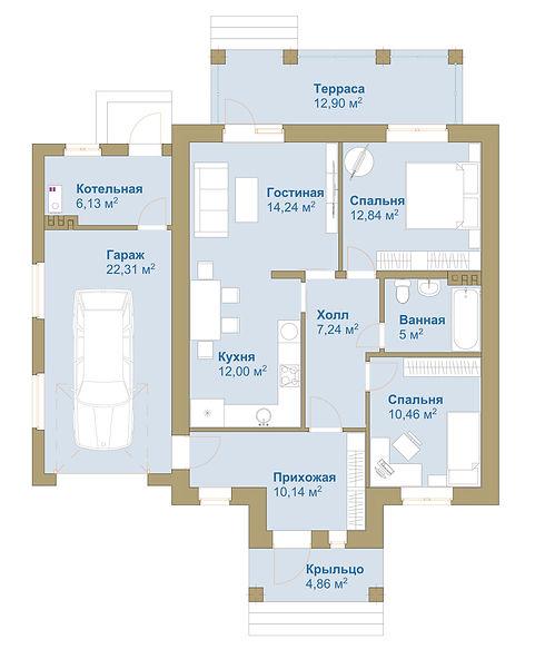 План этажа с 2 спальнями